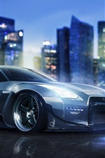 Preview iPhone wallpaper Nissan GT-R R35 supercar, night, city