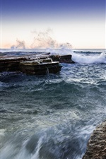 Preview iPhone wallpaper North Narrabeen, Sydney, Australia, sea, coast, rocks