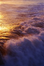 Preview iPhone wallpaper Ocean surf, waves, sunset