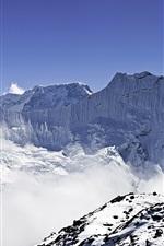 Preview iPhone wallpaper Panorama of Himalayas, Ama Dablam and Makalu, snow