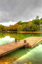 Preview iPhone wallpaper Park, autumn, pond, trees, clouds, wooden path