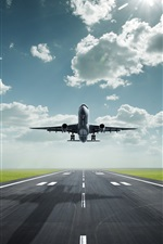Preview iPhone wallpaper Passenger plane take off, airport, road, clouds, sun