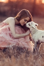 Preview iPhone wallpaper Pink dress girl with sheep, grass, sunset