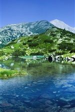 Preview iPhone wallpaper Pirin Mountains, Bulgaria, river, rocks