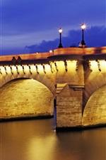 Pont Neuf, dusk, illumination, Paris, France
