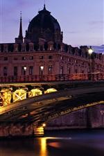 미리보기 iPhone 배경 화면 노트르담 다리, 황혼, 조명, 파리, 프랑스