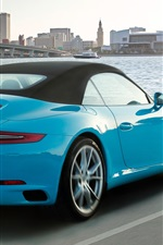 Preview iPhone wallpaper Porsche 911 Carrera S cabriolet, blue supercar back view