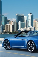 Preview iPhone wallpaper Porsche 911 Targa 4S blue supercar at city