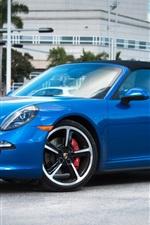 Preview iPhone wallpaper Porsche 911 Targa 4S blue supercar side view