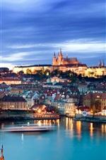 Preview iPhone wallpaper Prague, Czech Republic, Charles Bridge, river, city night view, lights