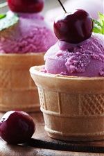 Preview iPhone wallpaper Purple color ice cream, cherries