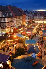 Preview iPhone wallpaper Quedlinburg, Germany, night, lights, market