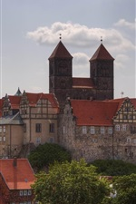 Preview iPhone wallpaper Quedlinburg, Germany travel place, houses, clouds, trees