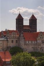 미리보기 iPhone 배경 화면 퀘 들린 부르크, 독일 곳, 주택, 구름, 나무 여행
