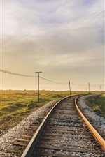 Preview iPhone wallpaper Railroad, morning, sunlight, grass, power lines