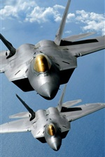 Preview iPhone wallpaper Raptor aircraft, flight in sky