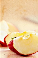 Preview iPhone wallpaper Red apple slice, fruits close-up