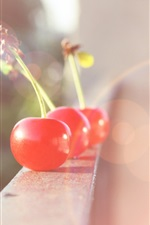 Preview iPhone wallpaper Red cherry, balcony, fruit, blurry, glare
