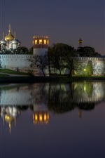 Preview iPhone wallpaper Russia, Moscow, Novodevichy Convent, monastery, night, lights, river