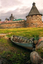 Preview iPhone wallpaper Russian North, Solovki fortress, boat, grass, houses, clouds