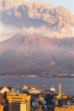 Preview iPhone wallpaper Sakurajima at sunset, smoke, volcano, Japan