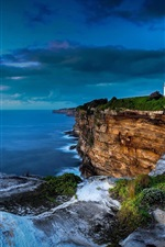 Preview iPhone wallpaper Sea, coast, cliff, clouds, lighthouse, dusk, Sydney, Australia