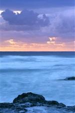 Preview iPhone wallpaper Sea, coast, dusk, Coolangatta, Queensland, Australia