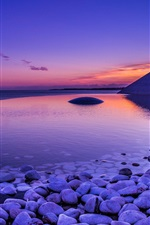 Preview iPhone wallpaper Sea, coast, stones, dawn, water reflection