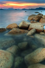 Preview iPhone wallpaper Sea, coast, sunset, rocks, clouds, dusk