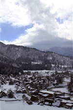 Preview iPhone wallpaper Shirakawago, Gassho-zukuri, winter, thick snow, travel to Japan