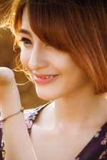 Preview iPhone wallpaper Short hair girl smile, chick on the hand