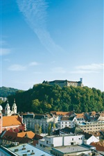 Preview iPhone wallpaper Slovenia, Ljubljana, city, houses, castle