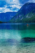 Preview iPhone wallpaper Slovenia beautiful nature, lake, mountains, clouds, boats