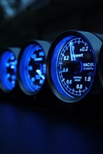 Preview iPhone wallpaper Speedometer, speed, miles, blue lights