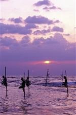 Preview iPhone wallpaper Sri Lanka, sea, dusk, people fishing