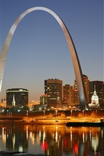 Preview iPhone wallpaper St. Louis, city night, Gateway Arch, houses, lights, river, America