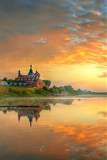 Preview iPhone wallpaper Staraya Ladoga, Russia, morning, sunrise, red sky, clouds, river
