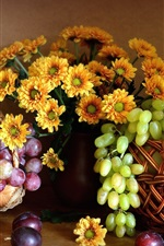 Preview iPhone wallpaper Still life, chrysanthemum, red and green grapes, apple, pears, fruits