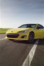 Preview iPhone wallpaper Subaru BRZ yellow car, road, fence