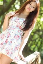 Preview iPhone wallpaper Summer Asian girl, short skirt, sunlight, bokeh
