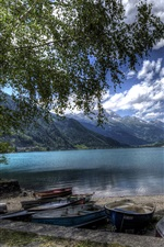 Preview iPhone wallpaper Switzerland, Poschiavo Lake, mountains, trees, shore, boats