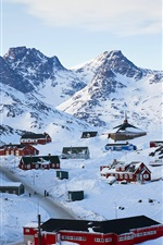 Preview iPhone wallpaper Tasiilaq in winter, Greenland, houses, thick snow
