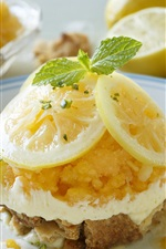 Preview iPhone wallpaper Tasty dessert, lemon slices, cream, delicious food