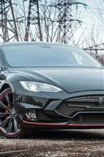 Preview iPhone wallpaper Tesla Model S black electric car front view