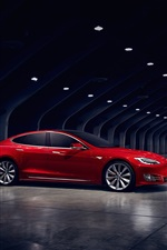 Tesla Model S red electric car side view