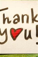 Obrigado, escrever no papel, corações do amor