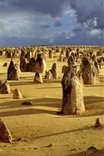 Preview iPhone wallpaper The Pinnacles, Nambung National Park, Western Australia, clouds