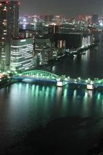 미리보기 iPhone 배경 화면 도쿄 도시의 밤, 건물, 고층 빌딩, 강, 다리, 조명, 일본