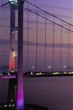 Preview iPhone wallpaper Tsing Ma Bridge, Hong Kong, sunset, lights, bay