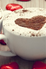 Preview iPhone wallpaper Two cups cappuccino coffee, love hearts chocolate